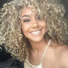 ash blonde curl @goldennn_xo has the most amazing curls right now! Steal her look by using our curl custard #CurlConfidence #CurlyHairDontCare