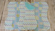 Teal and Lime Green Mod Flowers and Chevron by SugarPeasCreations