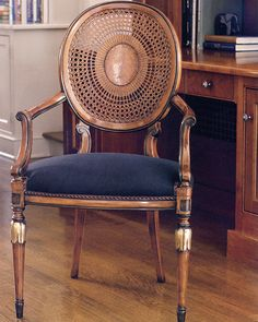chairs - Louis XVI style cane chair and armchair