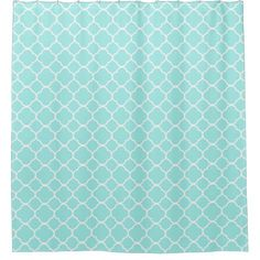 Retro Turquoise Pattern Shower Curtain - home gifts ideas decor special unique custom individual customized individualized