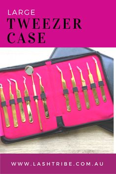 Finally something that fits all your Eyelash Extensions Tweezers. This Stylish Tweezer Case is designed by me and can hold up to 11 Tweezers! It folds and zips up beautifully and compact. Tweezers NOT included. Pin it if you like the look of it. http://lashtribe.com.au/shop/tweezers/large-lash-tribe-tweezer-case/   Lash Extensions Tips + Marketing Ideas   Lash Tribe Australia
