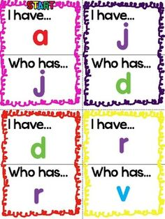 "FREE!  A fun ""I Have! Who Has?"" game that helps children master lowercase letters and sounds.  Have fun teaching!"