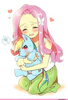 Looks like human FlutterShy found the pony version of Rainbow Dash
