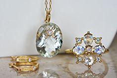K18YG made Green Amethyst Diamond Pendant K18 Moonstone Sapphire Diamond Ring K18YG diamond earrings