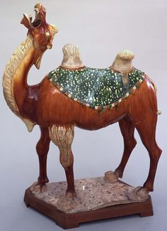 China, Shaanxi province (Chinese), China, Henan province (Chinese), Bactrian Camel, 675/750, molded earthenware with sancai (three color) glaze