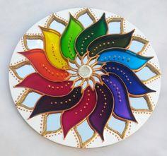 Flower Mandala, Mandala Art, Diwali Decoration Items, Acrylic Rangoli, Glass Painting Designs, Lotus Art, Cd Crafts, Cd Art, Hand Painted Ornaments