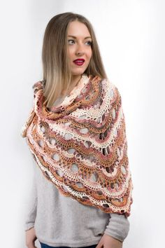 Elegant crochet shawl wrap for any time of by AnnasHandmadeknit