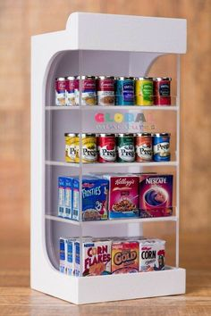 Dollhouse Miniatures Assortments of Can Food and Box of Cereal on Shelf Miniature Crafts, Miniature Food, Miniature Dolls, Miniature Furniture, Doll Furniture, Dollhouse Furniture, Diy Dollhouse, Dollhouse Miniatures, Mini Craft