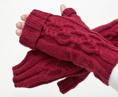 PATTERN ONLY Cuffed Twisted Cable Mitts by byhandbyjean on Etsy