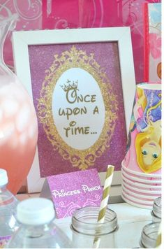 """Disney Princess """"Once Upon a Time"""" birthday party Princess Birthday Party Decorations, Disney Princess Birthday Party, Princess Theme Party, Tea Party Birthday, 4th Birthday Parties, Girl Birthday, Disney Party Decorations, Disney Princess Food, Princess Party Centerpieces"""
