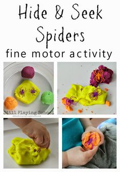 Hide and Seek Spiders in Play Dough for Fine Motor Practice from Still Playing School