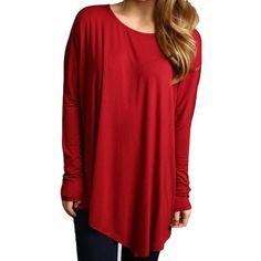Wine Piko Long Sleeve Asymmetrical Top - Piko Shirts  - 1