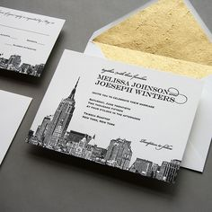 Steel Petal Press   NEW: New York City Skyline Wedding Invitation   http://steelpetalpress.com