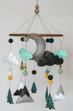 Teal Mustard Mint / Woodland Nursery / Felt Mobile / Mountain Nursery / Felt Moon / Woodland Mobile / Nursery Decor / Monochrome - List of the most beautiful baby products