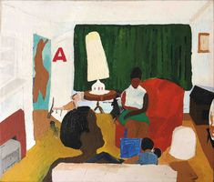 Henry Taylor (American) - Untitled (living room with Mama), acrylic on canvas, 26.5 x 30.5 in. (2004) Thornton Dial, Ellsworth Kelly, Robert Rauschenberg, Cy Twombly, Burlap Fabric, Louise Bourgeois, Color Balance, Colored Highlights, Museum Exhibition