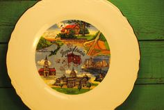 rare Pennsylvania SOUVENIR PLATE state plate by CaitiesFleaCircus, $50.00these are so cool to hang on the wall, brings a bit of vintage charm to any room... as a memento of a travel, where you wish to go, a childhood memory, where your loved ones live.....where you live...... Tangible remembrances of the great american road trip...... they look so cool in a grouping..... great gold detail..... just look at the details......so lovely....    https://www.etsy.com/shop/CaitiesFleaCircus