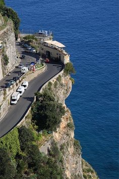 Coffee on the Coast. Why don't we all live here?  A Scenery Coffee Shop Along The Amalfi Coast Road, Italy