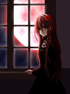 ✮ ANIME ART ✮ gothic. . .gothic fashion. . .gothic lolita. . .dress. . .ribbons. . .long hair. . .headdress. . .lace. . .rose. . .flower. . .window. . .moon. . .night sky. . .darkness. . .cute. . .kawaii