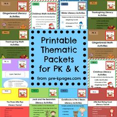 The theme packets were designed for use in Preschool, Pre-Kindergarten, Head Start, Transitional Kindergarten, and Kindergarten classrooms. Each packet includes fun, hands-on, teacher tested activities for math, literacy and more.