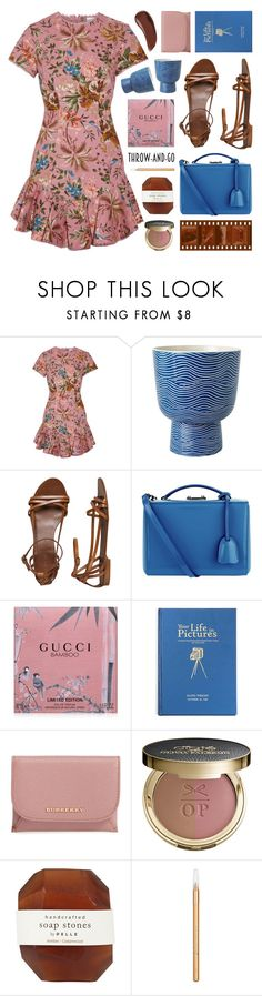 """""""easy outfitting: throw-and-go dresses"""" by jesuisunlapin ❤ liked on Polyvore featuring Zimmermann, J.Crew, Mark Cross, Gucci, Burberry, Ciaté, Pelle, Barry M, Sisley and tropical"""
