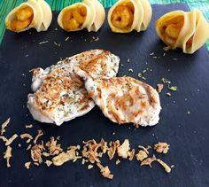 Pollo a doble cocción (cocido a baja temperatura y golpe de parrilla) con caracolas rellenas de gambas con salsa de #curry #yum #foodporn #yummy #hungry #food