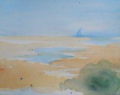ORIGINAL Watercolor Painting  OOAK Abstract Beach by Jenifer Maeda at Kisshoten