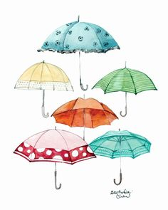 Watercolor Umbrellas by Heatherlee Chan