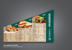 Restaurant Folding Delivery Menu by Ahmad Kattan, via Behance Cafe Menu Design, Menu Card Design, Restaurant Menu Design, Speisenkarten Designs, Delivery Menu, Bakery Packaging, Burger Restaurant, Book Cafe, Branding Design