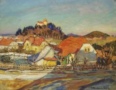 "Ota Bubeníček was a famous Czech landscape painter. He was also widely regarded as Bohemia's greatest marionnetter. (Wikipedia) (""Village Landscape"" by Ota Bubinecik) Landscape, Czech Republic, Painting, Journey, Art, Bohemia, Pictures, Art Background, Scenery"