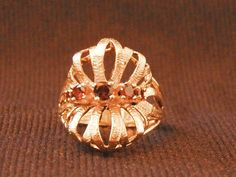 Vintage 14K Garnet Statement Ring, Free Shipping by EclairJewelry on Etsy