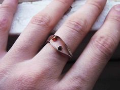 Two small Dot rings Sterling silver and copper by aforfebre