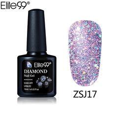 Elite99 New Arrival UV Gel Nail Manicure 10ml Diamond Glitter UV Nail Polish Sequins Gel Nail Good Quality Soak Off Gel Polish
