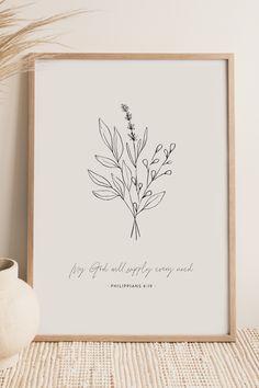 Printable Scripture, Bible Verse Wall Art, Printable Wall Art, Christian Decor, Christian Wall Art, Wildflower Drawing, Bedroom Decor, Wall Decor, Catholic Art