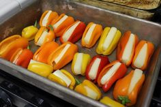 Mini Sweet Peppers stuffed with String Cheese and broiled for 10 minutes!  So yummy!