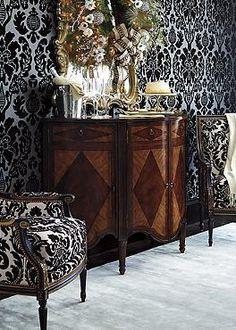 Inspired by 17th century design, the Rue Royale Bar Cabinet offers handsome style and ample storage for your home.