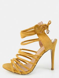 Online shopping for Open Toe Strappy Stiletto Heels YELLOW from a great selection of women's fashion clothing & more at MakeMeChic.COM.