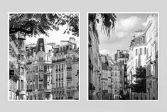 Paris black and white photography, set of 2 prints, paris architecture art poster, large wall art, living room decor, 8x10,11x14,16x20 print