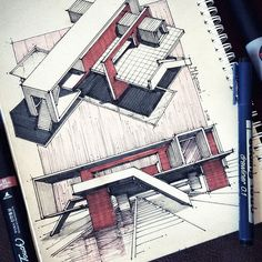 _ Nice work | by @m.ansari.architect . Follow @arch_cad for more daily sketchs . ✏