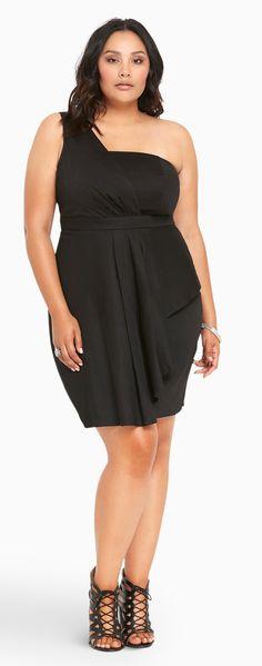 Plus Size Sateen One Shoulder Dress