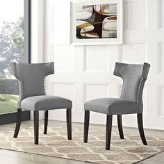 Transform your dining decor with the broadly designed Swerve Dining Side Chair. Sweeping lines complement a minimalist shape for a chic lo Grey Upholstered Dining Chairs, Fabric Dining Chairs, Modern Dining Chairs, Chair Fabric, Dining Chair Set, Traditional Dining Rooms, Dining Decor, Dining Furniture, Furniture Sets