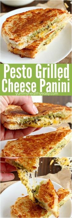 Pesto Grilled Cheese Panini is the easiest and tastiest grilled cheese sandwich pressed with two pans to make it a panini! (Or you can use a panini press) You only need a few ingredients for this delicious sandwich full of flavor! Happy National Grilled Cheese Day!