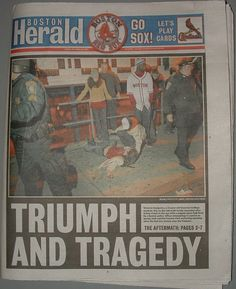 The cover of the Boston Herald shows a woman on the ground. She had just been hit with a pepper spray pellet that police fired into a crowd. The woman died a few hours later.  http://web.mit.edu/drb/Public/PhotoThesis/
