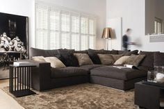 modern but cosy Home Projects, Small Living Room, Home, Dark Couch, Room, Living Room, Shutters, Luxury Living, Furniture