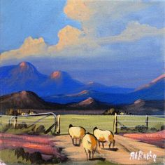 At Botha ~ Alice Art Gallery, South Africa Landscape Art, Landscape Paintings, Art Paintings, Painting Lessons, Art Lessons, African Colors, Sheep Art, South African Artists, Naive Art