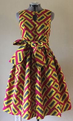 Quirky automne robe Wax africain imprimer ajustement de corsage de trou de serrure et Flare 100 % coton chaud rose jaune noir imprimé géométrique avec poches et ceinture