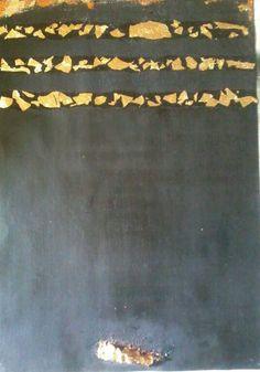 """Peinture : """"Al Kaaba"""" toile estampillée de feuilles d'or ("""