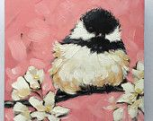 "Chickadee art, impressionistic, 5x5"" original oil painting of a Chickadee with flowers, Bird Paintings, chickadee paintings"