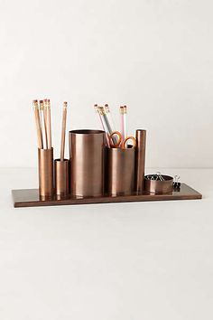 Bronze organizer but looks like a toilet paper roll project to me!!