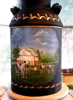 vintage painted milkcans | MILK CAN, ACRYLIC (HISTORIC PLACES IN CUMBERLAND CO.)