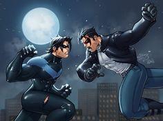 Nightwing (Dick Grayson) vs Red Hood (Jason Todd)